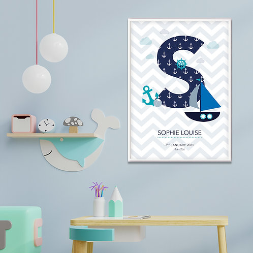New Baby Initial Nautical Print