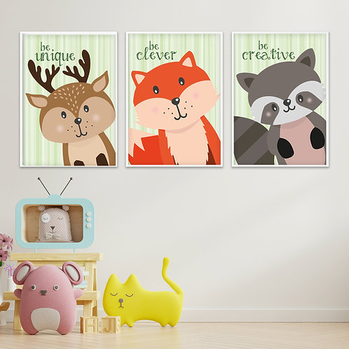 Be... Green Woodland Collection Trio Print Set