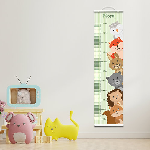 Personalised Green Woodland Height Chart