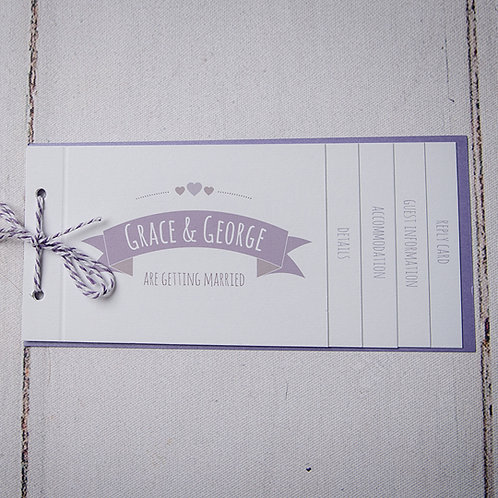 May Cheque Book Style Wedding Invitation