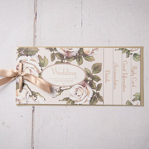Rose Cheque Book Style Wedding Invitation