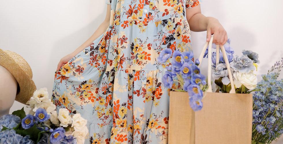 韓裝🇰🇷 夏日藍碎花 連衣裙