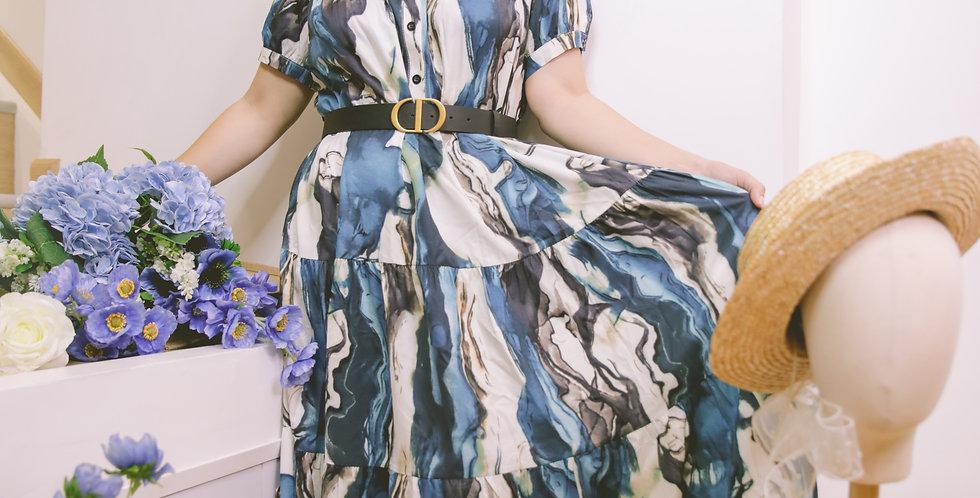 韓裝🇰🇷 自家廠製 藍浪連衣裙