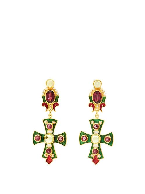 Rhodolite & Peridot Cross Earrings