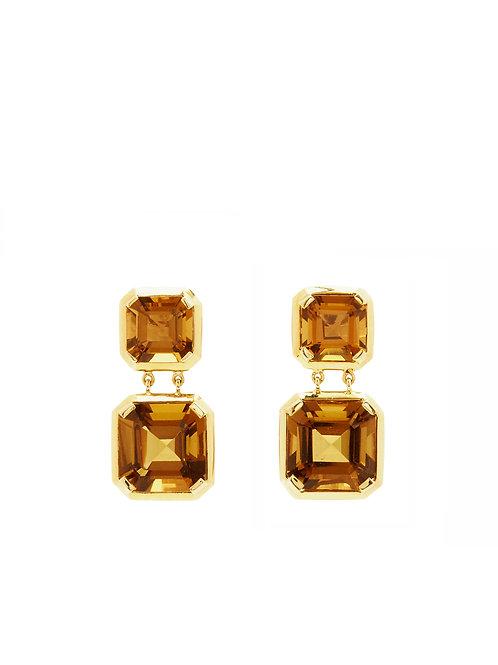 Square Citrine Earrings