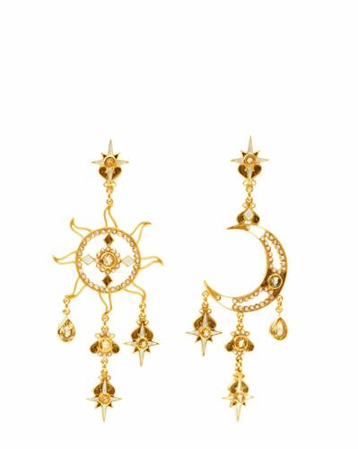 Citrine Sun & Moon Earrings