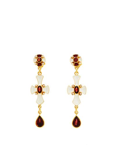 Garnet Cross Earrings