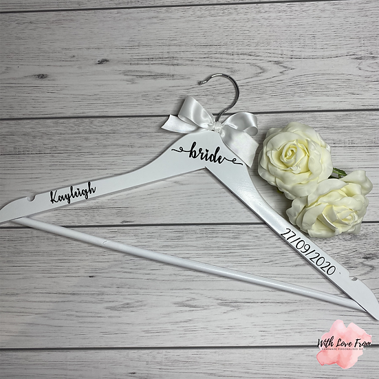 Personalised Wedding Hanger With Ribbon