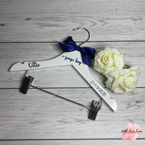 Personalised Page Boy Wedding Hangers With Ribbon