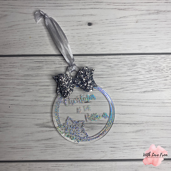 Christmas At The Family Name Snowflake Glitter Bow Bauble