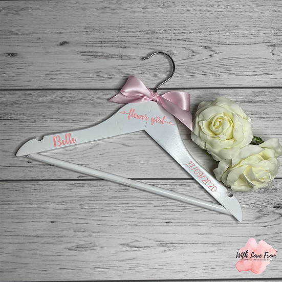 Personalised Flower Girl Wedding Hangers With Ribbon
