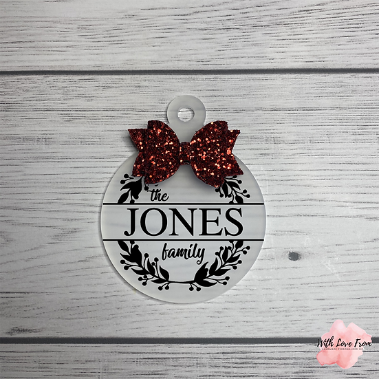 Family Surname Glitter Bow Bauble