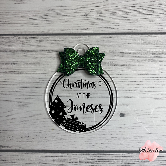 Christmas At The Family Name Christmas Tree Glitter Bow Bauble
