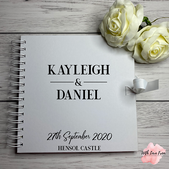 Personalised White Wedding Guestbook