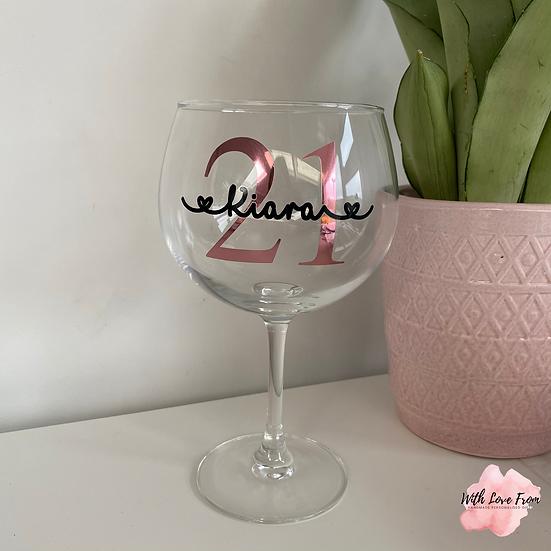 Personalised Birthday Gin Glass
