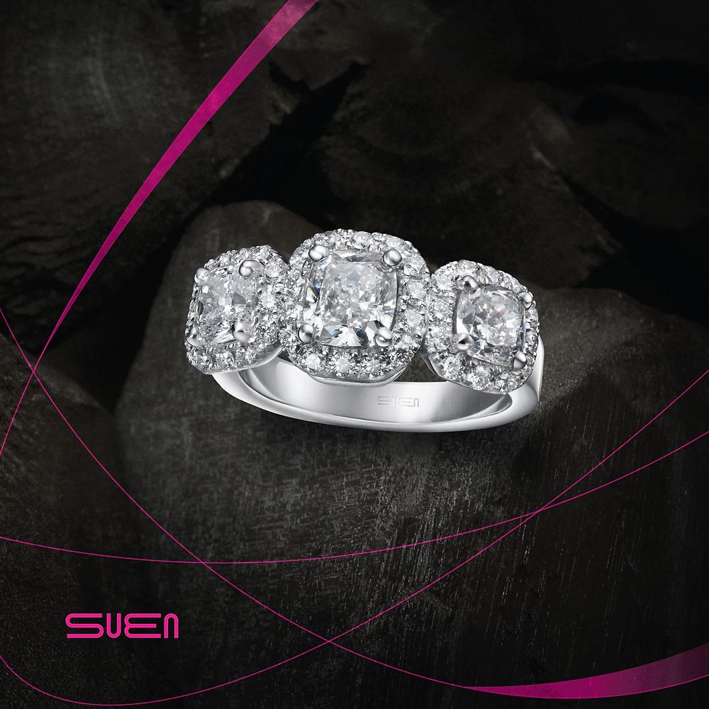 Three cushion diamond ring - suen jewellers