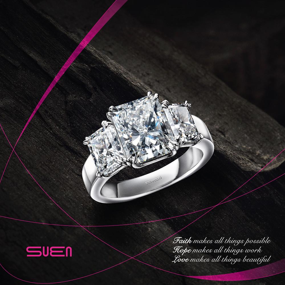 Trinity radiant diamond ring