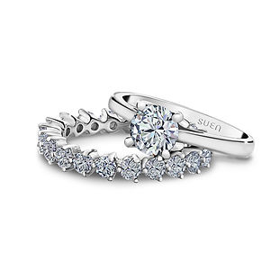 The Love Diamond Beautiful Duet Matching Engagement Ring with diamond eternity band