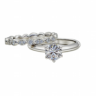 Matching Diamond Engagement Ring with Eternity Ring - The Love Diamond