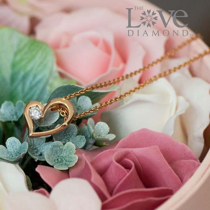 The Love Diamond Sweetheart necklace set in 18K rose gold