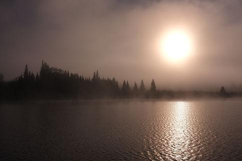 Early morning sunrise over lake