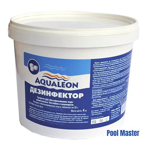 AQUALEON Дезинфектор БСХ (быстрый стаб. хлор в таблетках 20 г) 4 кг
