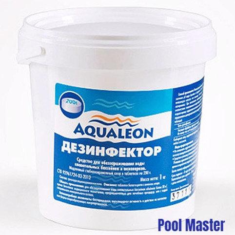 AQUALEON Дезинфектор МСХ (медленный стаб. хлор в таблетках 200 г) 1 кг