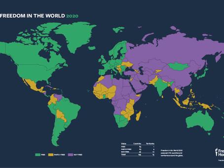 Australia's Ranking in the 'Freedom in the World annual global report' 澳洲在2020年最新民主自由報告的得分