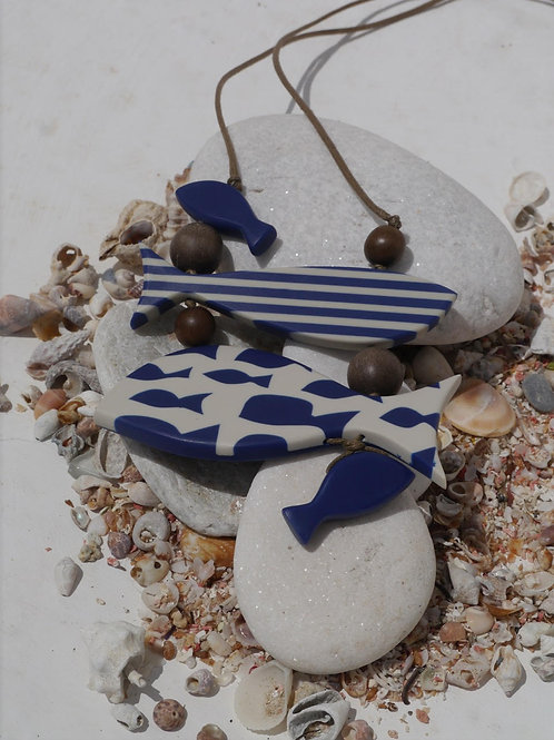 Blue & White Fish Necklace