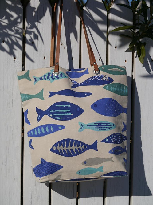 Large Canvas Fish Print Bag with Leather Handles