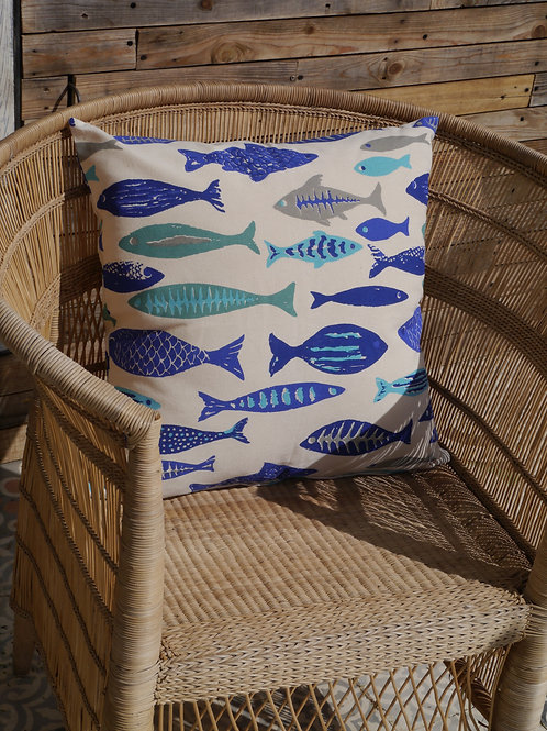 Fish print cushion cover