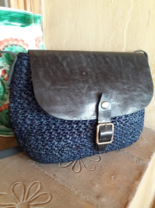 Raffia Shoulder Bag Navy Blue