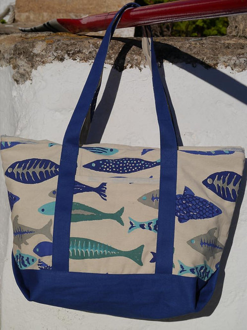 Large Canvas Fish Print Bag