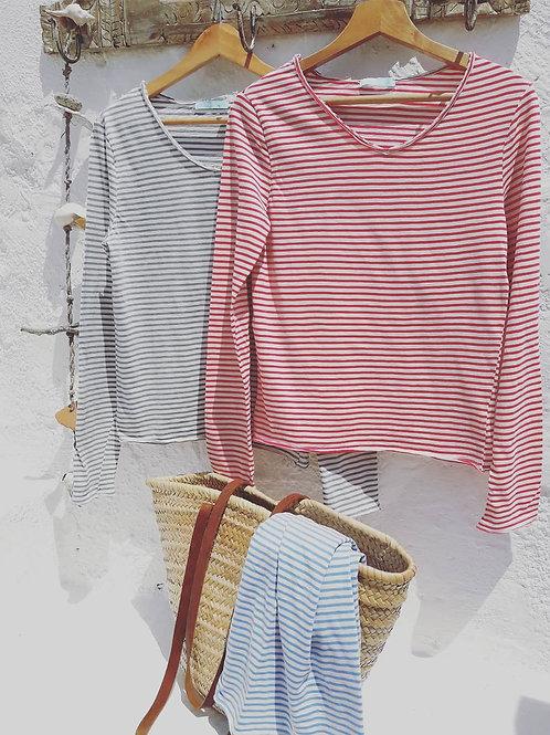 Cotton stripe breton style top