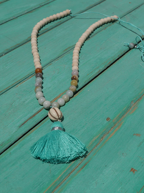 Tassel & Beads Necklace Turquoise