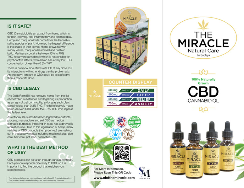 The Miracle Natural Care by Saplaya - Promotional Brochure 1 (Exterior & Front Cover)