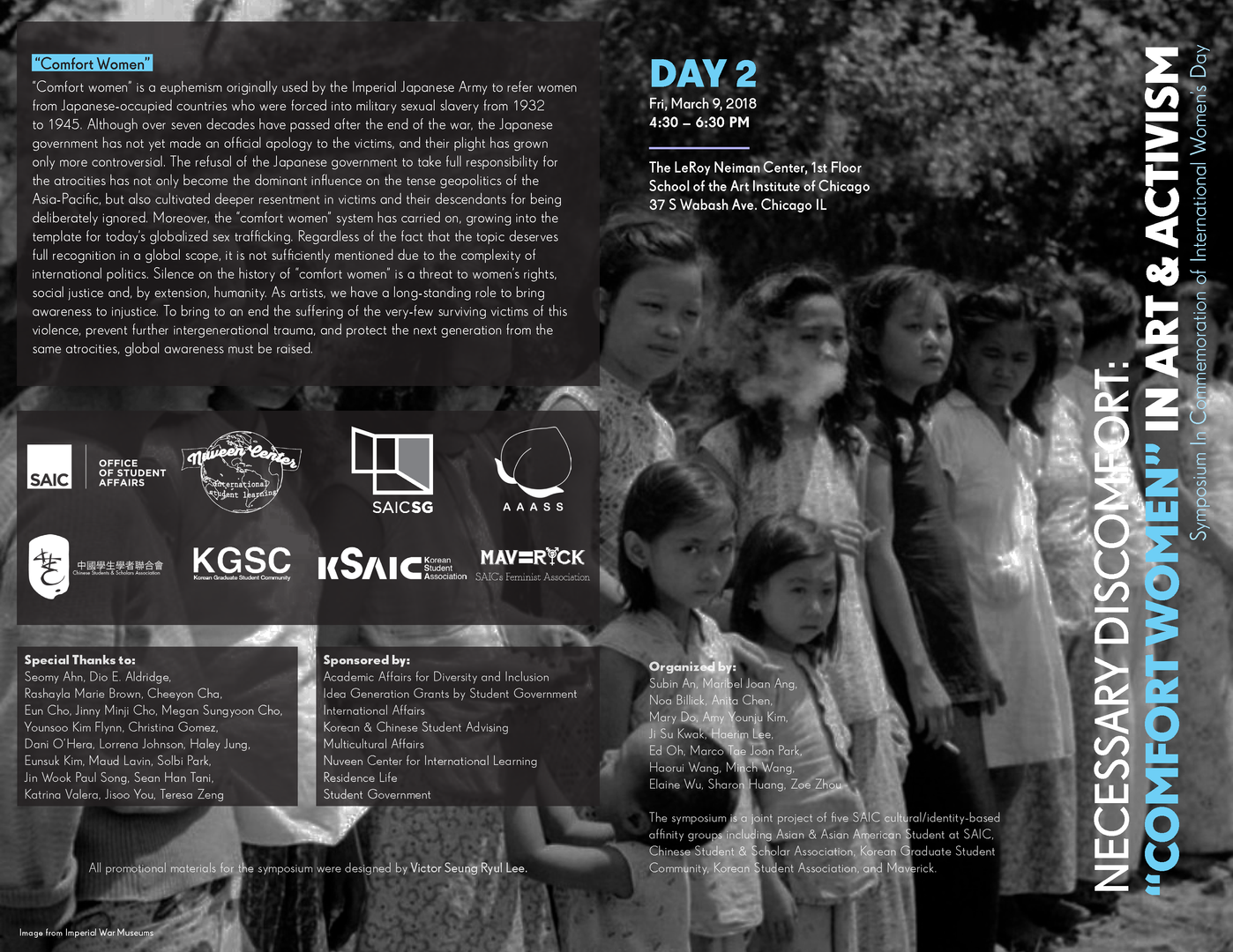 "Necessary Discomfort: ""Comfort Women"" in Art & Activism Day 2 Brochure Front & Back Cover"