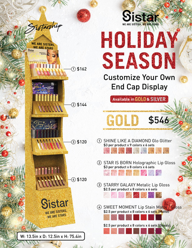 Sistar - Holiday Season Gold End Cap Display Infographic Promotional Poster