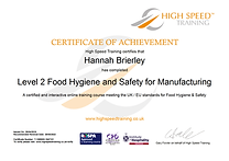 Hannah Brierley-Level 2 Food Hygiene and