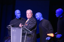 Bill Kurtis with Blue Man Group - Photo by Johnny Knight