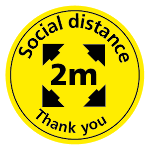 Social distance 2m Thank you floor sticker