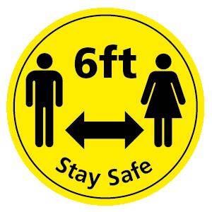 6ft Stay Safe floor sticker