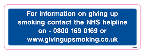 For information on giving up smoking contact the NHS helpline on