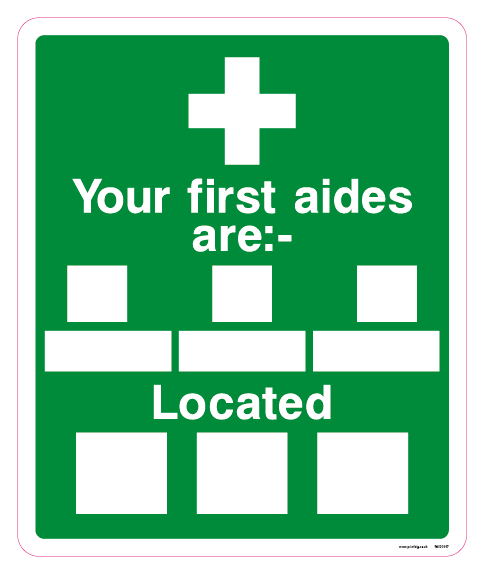 Your first aiders are: Located