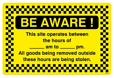 BE AWARE!  This site operates between the hours of am to pm. All goods being rem