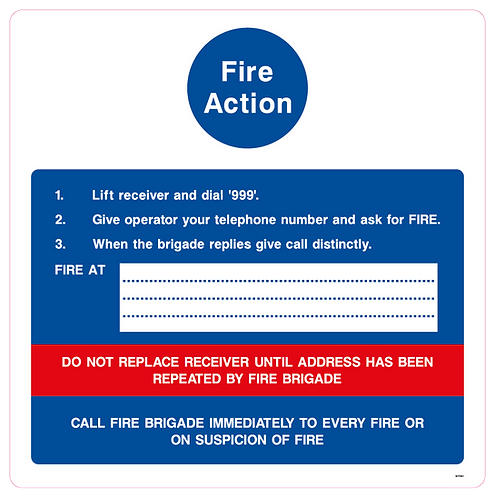 Fire Action Lift receiver and dial '999'.