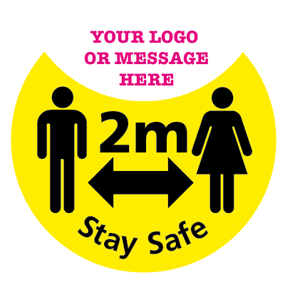 2m Stay Safe floor sticker, With your own logo or message