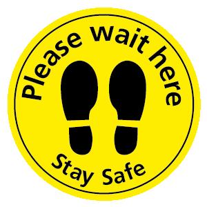 Please wait here Stay Safe floor sticker