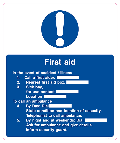 First aid In the event of an accident