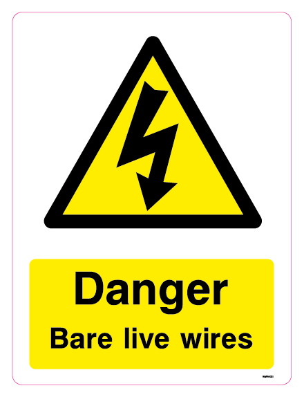 Danger Bare live wires